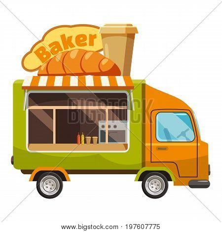 Baker van mobile snack icon. cartoon illustration of baker van mobile snack vector icon for web