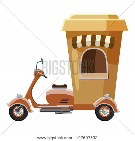 Moped mobile cafe icon. cartoon illustration of moped mobile cafe vector icon for web