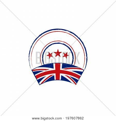 Flag and stamp design. Retro stamp with English flag on white background. Isolated template for your designs. Vector illustration.