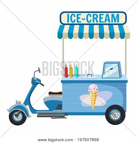 Ice cream moped mobile snack icon. cartoon illustration of ice cream moped mobile snack vector icon for web
