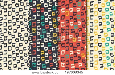 Abstract seamless hand drawn pattern set. Modern free hand textures. Colorful minimalistic doodle backgrounds. Seamless backdrop.