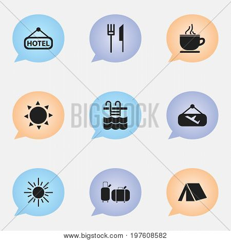 Set Of 9 Editable Journey Icons. Includes Symbols Such As Signboard, Breakfast, Flight Signboard And More