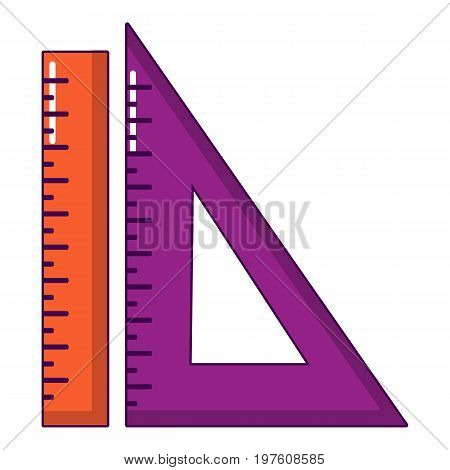 Ruler set icon. Cartoon illustration of ruler set vector icon for web design