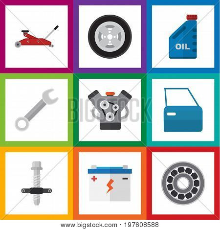 Flat Icon Workshop Set Of Petrol, Muffler, Spanner And Other Vector Objects