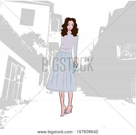 Fashionable cute girl dressed in knitted sweater and pleated skirt with tulle in the old city, vector fashion illustration