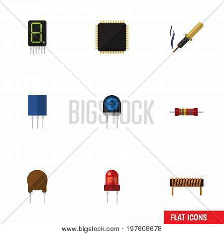 Flat Icon Electronics Set Of Cpu, Repair, Receptacle And Other Vector Objects
