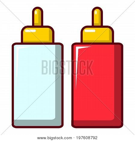 Mustard ketchup bottle icon. Cartoon illustration of mustard ketchup bottle vector icon for web design