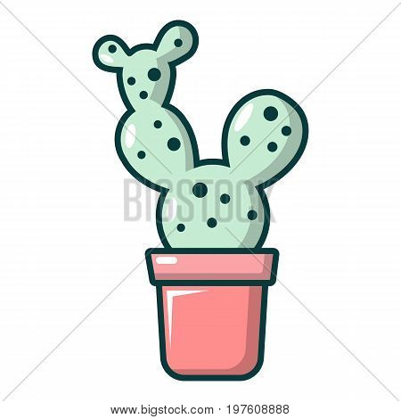 Opuntia cactus icon. Cartoon illustration of opuntia cactus vector icon for web design
