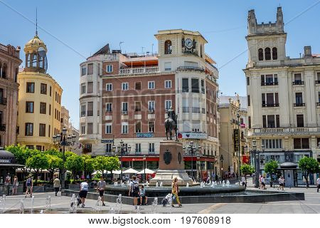 Cordoba, Spain - June 20 : The City Center, Plaza De Las Tendillas Of Cordoba On June 20, 2017.  Peo