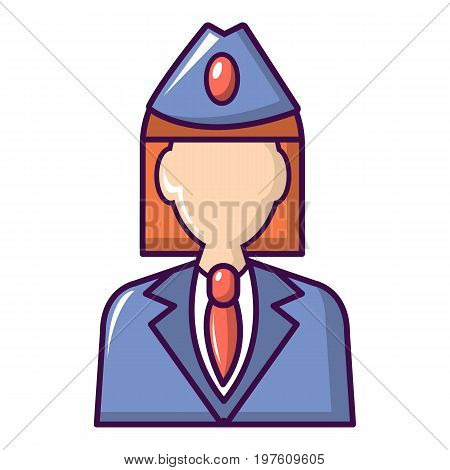 Train conductor icon. Cartoon illustration of train conductor vector icon for web design