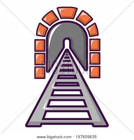 Railway tunnel icon. Cartoon illustration of railway tunnel vector icon for web design