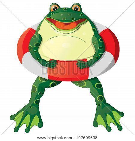 Cartoon cheerful cute frog with a lifebuoy