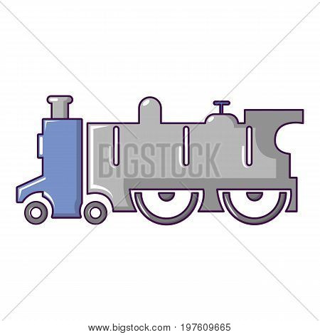 Old steam locomotive icon. Cartoon illustration of old steam locomotive vector icon for web design