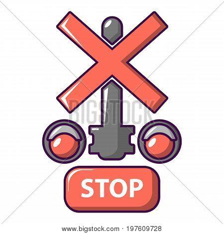 Traffic light stop railway icon. Cartoon illustration of traffic light stop railway vector icon for web design