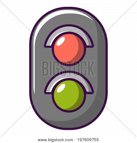 Traffic light railway icon. Cartoon illustration of traffic light railway vector icon for web design