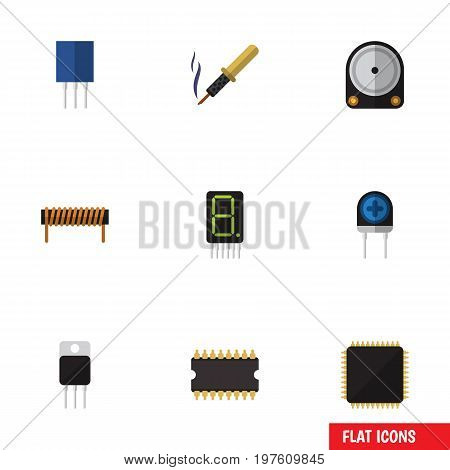 Flat Icon Electronics Set Of Receptacle, Hdd, Cpu And Other Vector Objects