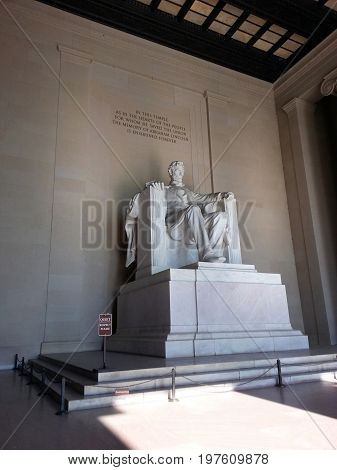 Abraham, our 16th president, seated in marble.