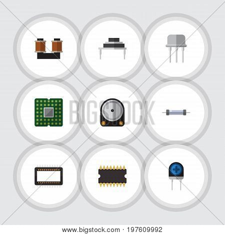 Flat Icon Technology Set Of Coil Copper, Hdd, Resistor And Other Vector Objects