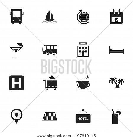 Set Of 16 Editable Travel Icons. Includes Symbols Such As Yacht, Omnibus, Motorbus And More