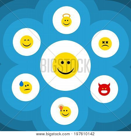 Flat Icon Gesture Set Of Tears, Cross-Eyed Face, Angel And Other Vector Objects
