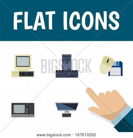 Flat Icon Computer Set Of Processor, PC, Computer And Other Vector Objects