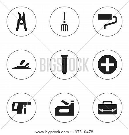 Set Of 9 Editable Instrument Icons. Includes Symbols Such As Plus, Toolbox, Screwdriver And More