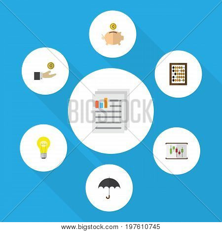 Flat Icon Finance Set Of Parasol, Hand With Coin, Diagram Vector Objects