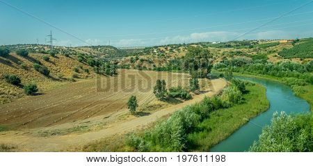 Terrace Farming With A Stream On The Spanish Countryside Of Cordoba, Spain,europe