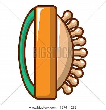 Massage brush icon. Cartoon illustration of massage brush vector icon for web design