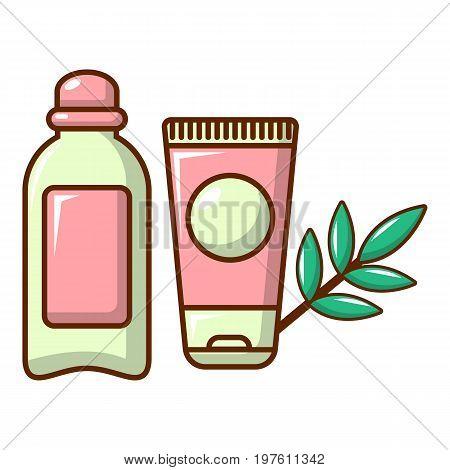 Massage cream with olive oil icon. Cartoon illustration of massage cream with olive oil vector icon for web design