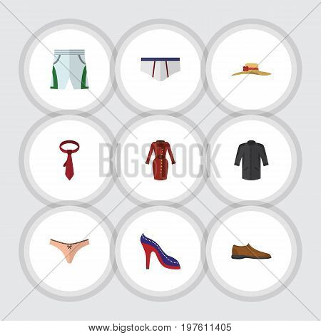 Flat Icon Clothes Set Of Cravat, Heeled Shoe, Underclothes And Other Vector Objects