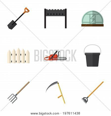 Flat Icon Farm Set Of Hay Fork, Wooden Barrier, Tool And Other Vector Objects