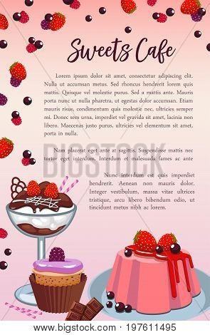 Desserts and bakery shop cakes vector poster template. Patisserie sweet biscuits, chocolate donut or gingerbread cookie and brownie pudding, muffin and cupcakes for cafeteria or cafe menu