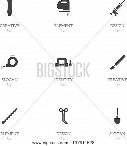 Set Of 9 Editable Tools Icons. Includes Symbols Such As Medical Instrument, Clamp, Medical Shear And More