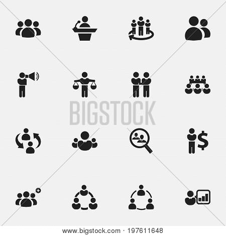 Set Of 16 Editable Community Icons. Includes Symbols Such As Group, Human Resouces, Agreement And More