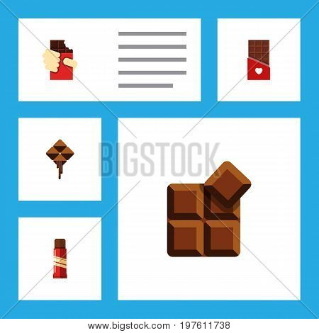 Flat Icon Bitter Set Of Sweet, Chocolate, Cocoa And Other Vector Objects
