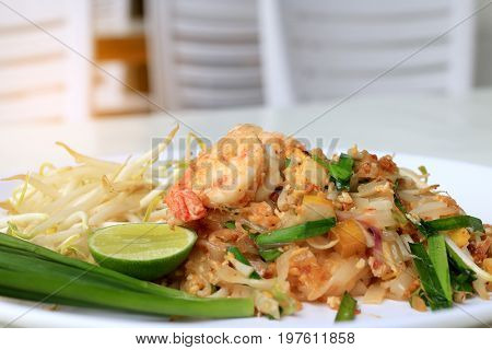 Thai Food Pad Thai ,stir Fry Noodles With Shrimp In White Plate. The One Of Thailand's National Main