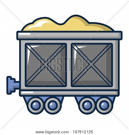 Coal trolley icon. Cartoon illustration of coal trolley vector icon for web design