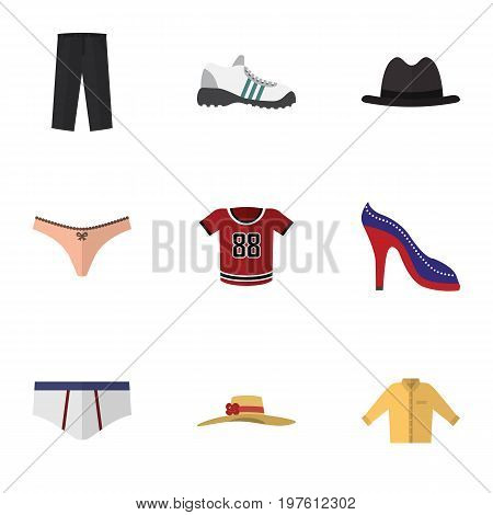 Flat Icon Garment Set Of Pants, Panama, Banyan And Other Vector Objects