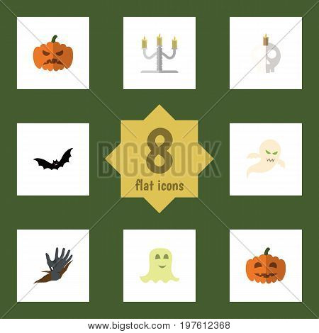 Flat Icon Celebrate Set Of Cranium, Spirit, Zombie And Other Vector Objects