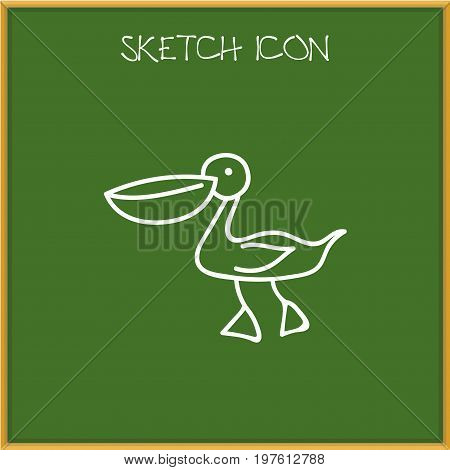 Vector Illustration Of Animal Symbol On Waterbird Doodle