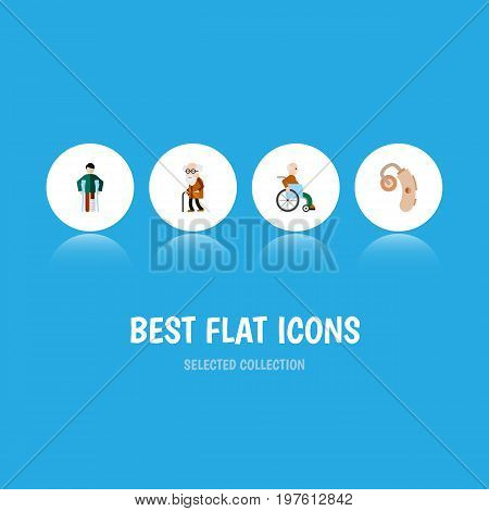Flat Icon Handicapped Set Of Ancestor, Injured, Audiology And Other Vector Objects