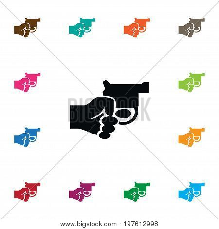 Revolver Vector Element Can Be Used For Revolver, Gun, Kill Design Concept.  Isolated Gun Icon.