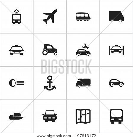 Set Of 16 Editable Transport Icons. Includes Symbols Such As Luminary, Food Transport, Motorbus And More