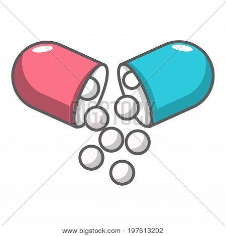 Open capsule pill icon. Cartoon illustration of open capsule pill vector icon for web design