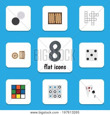 Flat Icon Games Set Of Backgammon, Chequer, Guess And Other Vector Objects