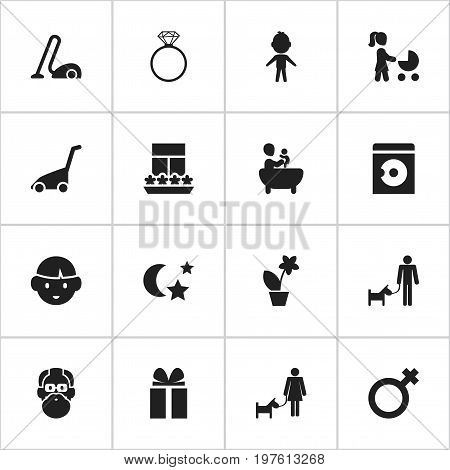 Set Of 16 Editable Relatives Icons. Includes Symbols Such As Son, Midnight, Solitaire Diamond And More