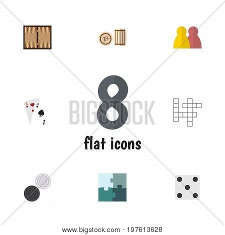 Flat Icon Play Set Of Chequer, Dice, People And Other Vector Objects