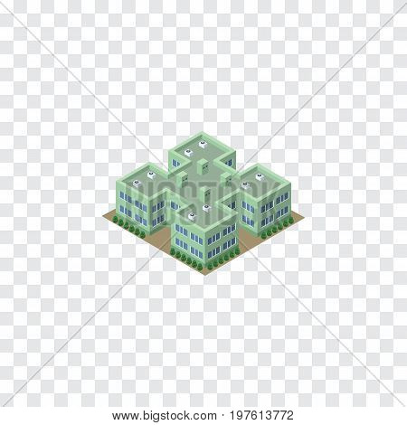 Clinic Vector Element Can Be Used For Hospital, Clinic, Building Design Concept.  Isolated Hospital Isometric.