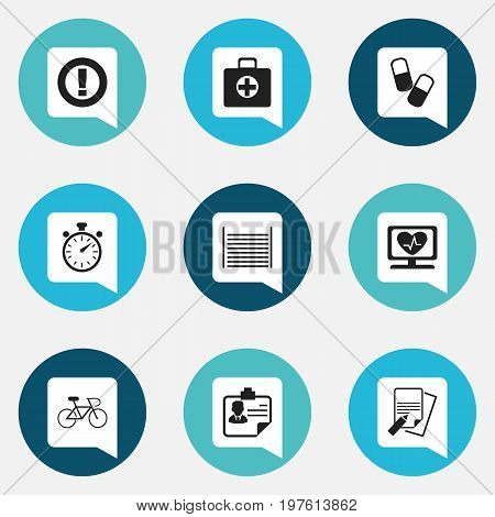 Set Of 9 Editable Complex Icons. Includes Symbols Such As Heart Rhythm, Velocipede, First Aid Box And More